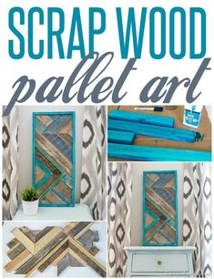 The pallet wood wall art was made from 100% recycled wood scraps from my wood pile. I have a little bit of a hoardind problem. Easy and fun to make! #scrapwood #wallart #walldecor #woodsigns