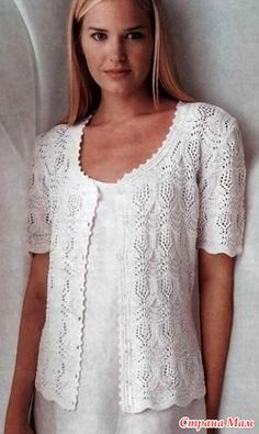 Easy Knitting Patterns for Beginners - How to Get Started Quickly? Crochet Jacket, Crochet Blouse, Knit Jacket, Knit Crochet, Summer Knitting, Lace Knitting, Easy Knitting Patterns, Jacket Pattern, Crochet Clothes