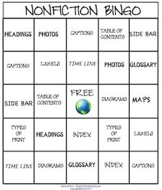 Nonfiction Bingo - no directions, just picture (via Oscar Learn, Oscar Teach!) - but I am sure it would be easy to Google directions...