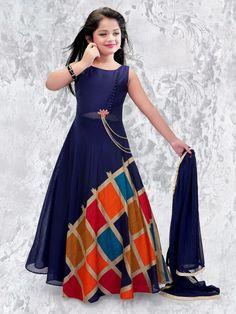 Shop Blue georgette party anarkali suit online from India. Girls Frock Design, Baby Dress Design, Kids Frocks Design, Kids Dress Wear, Kids Gown, Party Wear Dresses, Gowns For Girls, Frocks For Girls, Dresses Kids Girl
