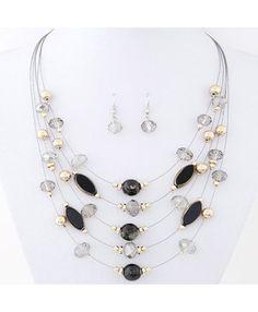 Black Bead Necklace & Earring Set