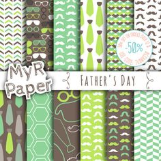 """Green Digital Paper: """"Father's Day"""" digital paper pack & backgrounds with mustache, tie, glasses, hat in acid green, brown and fresh white  50% OFF ON ORDERS OVER 12 $ (OR ... #patterns #design #graphic #digitalpaper #scrapbooking"""