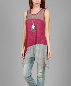 Look at this Simply Aster Deep Fuchsia & Gray Lace-Accent Sleeveless Sidetail Tunic on #zulily today!