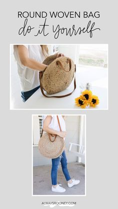 How to make your own round woven bag for spring, round woven bag DIY, jute and leather DIY Leather Bag Diy Bags Purses, Diy Purse, Round Straw Bag, Round Bag, Rope Crafts, Knitting Blogs, Basket Bag, Crochet Bags, Handmade Bags