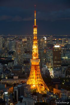 Tokyo Tower at Night by Kim Nilsson, via 500px