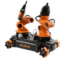 KUKA youBot omni-directional mobile platform with dual arm,  Key features:  omni-directional mobile platform, two 5-degree-of-freedom manipulators, two 2-finger grippers, real-time EtherCAT communication, on-board PC, mini ITX PC-Board with embedded CPU, 2 ,GB RAM, 32 GB SSD Flash, USB, open interfaces, basic control software, arm and platform can be used independently