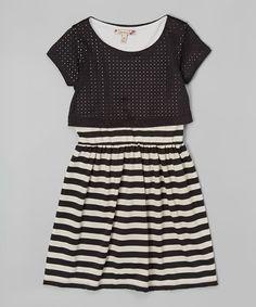 Another great find on #zulily! Black & White Stripe Layered Dress #zulilyfinds