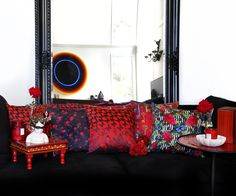 Red Cushions, Velvet Pillows, Red Interior Design, Interior Decorating, Contemporary Pillow Covers, Maximalist Interior, Unicorn Rooms, French Bed, Red Rooms