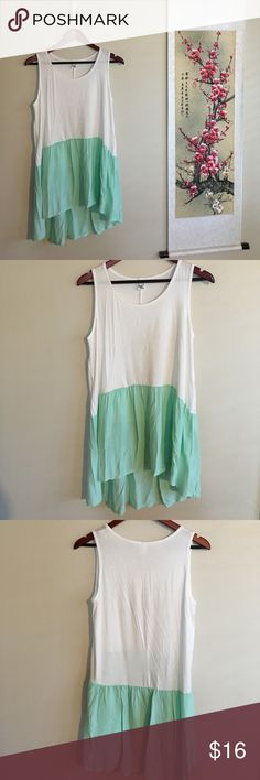 Dip Dyed Tank Colorful and fun dip dyed tank. White and sea green. Size Large. Comfy and soft soft soft!!! Sun & Moon Tops Tank Tops