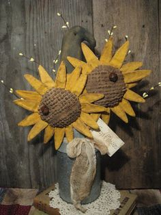 Sunflower and Crow Gathering by Olde Annie Primitives