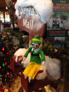 Elfis the Elvis impersonating Elf on the Shelf and Elf on the Go. Follow him at www.facebook.com/elfisthechristmaself   The mail room is already busy. Have you sent your letter to Santa.  Bass Pro Shop