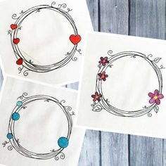 With the Scribble Frame Set you get three beautiful, filigree borders, which can be wonderfully combined with fonts. Embroidery Files, Machine Embroidery Designs, Scribble, Bracelets, Frame, Pattern, Jewelry, Textile Art, Monogram