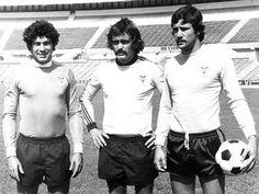 Os então guarda-redes do Benfica: José Henrique, Manuel Bento e António Fidalgo