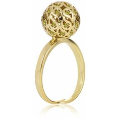 Sonal Bhaskaran - Svar Gold Sphere Ring Yellow CZ ($234) ❤ liked on Polyvore featuring jewelry, rings, handcrafted rings, nickel free jewelry, yellow ring, handcrafted jewelry and yellow gold rings