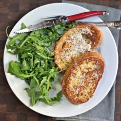 How had it not occurred to me that French toast could be savory? Savory Pecorino French Toast w/ Arugula!