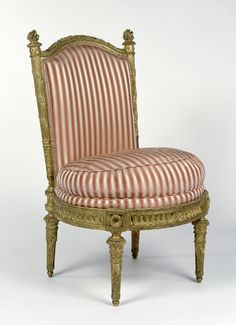 """Side Chairs (chaises à la reine),"" Jacques Gondoin, François-Toussaint Foliot, probably carved by Toussaint Foliot, 1780 - 1781. Gessoed and gilded beech; modern silk upholstery. 