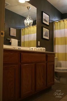 bathroom paint color.... - differnt color scheme = but like the chandelier