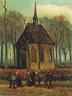 """Painting """"Het uitgaan van de Hervormde Kerk te Nuenen"""" by Vincent van Gogh - www.schilderijen.nu"""