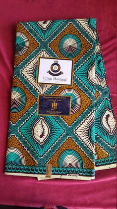 Wholesale African Fabric ~Turquoise & Olive Adinkra and Cowrie ~ Sold by 6 Yard Piece ~ Julius Holland Wax Print Batik Ankara, Imported by Fabricatti on Etsy