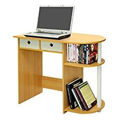 Furinno Multi-Purpose Computer Desk – This Contemporary Laptop Table Is Suitable for Your Home Office, Kids Bedroom or Any Small Area in Your House – Amazing Space Storage Solution – 2 Years Warranty!