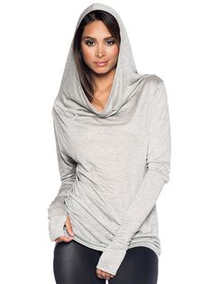 Long Sleeve Grey Drape Hoodie - LIMITED (AU $80AUD) by Black Milk Clothing