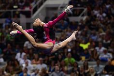 Gabby Douglas performs on the floor exercise.