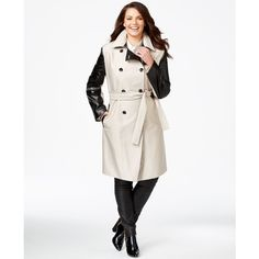 Calvin Klein Plus Size Mixed-Media Trench Coat ($160) ❤ liked on Polyvore featuring plus size fashion, plus size clothing, plus size outerwear, plus size coats, latte, white ribbed turtleneck, white trench coat, faux leather sleeve coat, leather sleeve coat and faux coat