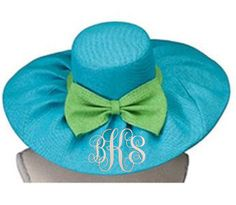Monogram Floppy Sun Hat - Blue with Lime Green Bow Simply Southern Monograms Beach Weather, Floppy Sun Hats, Spring Break, Lime, Bows, Turquoise, Simply Southern, Fascinators, Monograms