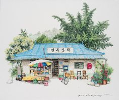 Artist Spends 20 Years Creating Charming Sketches Of South Korea& Comfort Shops South Korean artist Me Kyeoung Lee sees magnificence even in mundane on a regular basis objects. Her sketches of native comfort shops is a captivating. Korean Painting, Colossal Art, Jolie Photo, Urban Sketching, Korean Artist, Beautiful Paintings, Nature Paintings, South Korea, Watercolor Art