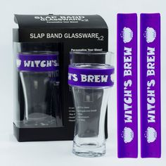 "Identify your glass at the Halloween party with your glass ""charm""/slap band.  Witch's Brew!  #HalloweenGlass #Halloween #HalloweenDecor #HalloweenParty"