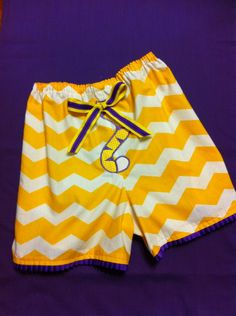 Teen Ladies LSU Chevron Pajama Shorts with by DitsyDaisyDoo, $20.00