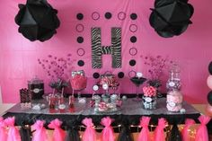 hot pink and black party deco