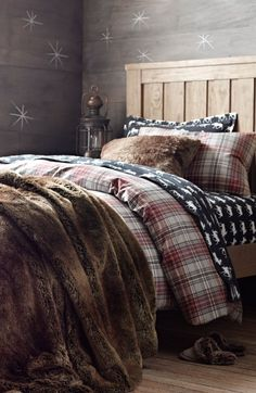 lodge plaid flannel bedding with luxe faux fur. for happy hibernating. #rhbabyandchild
