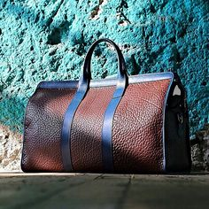 Brown Leather and Navy Strap Hold all Duffle Bag by Mens Fall Winter Fashion. Men Accesories, Bag Accessories, High End Handbags, Fab Bag, Messenger Bag Men, Leather Bags Handmade, Leather Men, Brown Leather, Beautiful Bags