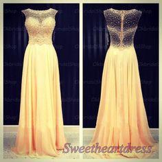 Yellow chiffon prom dress, junior prom dress 2016 sweetheartdress.s... #coniefox #2016prom