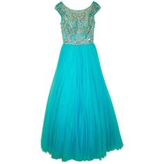 Pre-owned Sherri Hill Turquoise #2984 Dress ($374) ❤ liked on Polyvore featuring dresses, turquoise, blue cocktail dresses, sherri hill dresses, turquoise cocktail dress, vintage looking dresses and pre owned dresses