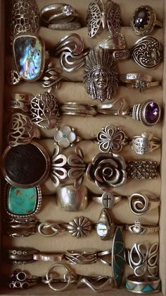 Boho Tribal sterling silver (some turquoise) rings!