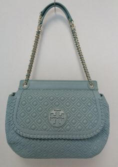 305e70b8f Keeks Buy Sell Designer Handbags - Tory Burch Light Blue Quilted Leather  Marion Saddle Shoulder Bag