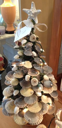 Christmas tree decorated with sea shells #ChristmasontheCape