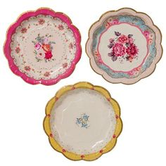 Tea Party Plates with 3 floral design, ideal for a tea party birthday party