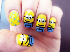 Cute nail designs for kids who love minions and who love the new movie