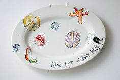 Peace Love & Sandy Toes Platter  Serving by jjmillustration, $68.00