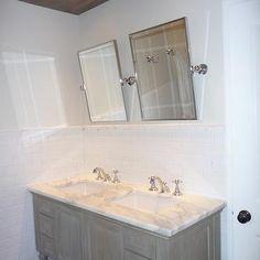 Gray Cabinets, Cottage, bathroom, Benjamin Moore tapestry beige