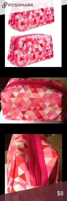"""MACY'S COSMETIC BAG Brand new cosmetic bag pouch. In a hot pink geometric design. Approx Dimensions 8""""l x 5""""h x4""""w Macy's Bags Cosmetic Bags & Cases"""