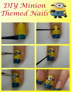 DIY Minion Nails @Maggie Moore Hartman @Lenora Nichols beaman @Claudia Park Whittle we gotta do this!!