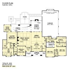 Garage House Plans, Ranch House Plans, Craftsman Style House Plans, Best House Plans, Dream House Plans, House Floor Plans, Car Garage, Craftsman Ranch, Great Room Layout