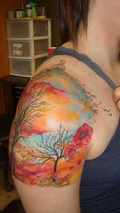 beautiful colored scene on the shoulder.