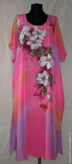 f8d0165def Купить Платье-Батик''Клематисы'' - разноцветный, цветочный, клематис,  платье летнее, Платье нарядное, лето. Simrat Mansahia · Hand Painted Kurtis