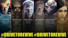 A great picture of the various races in Stargate. Wouldn't mind a new series right about now. I say to throw in a new Babylon 5 as well. And while I'm greedy, could use some Star Trek as well. Stargate Movie, Stargate Ships, Crossover, Stargate Universe, Marvel Universe, Battlestar Galactica 1978, Daniel Jackson, Starship Troopers, Best Sci Fi