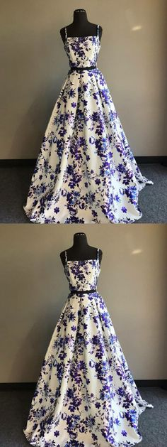 2018 Two Piece Prom Dress Floral Cheap Long Prom Dress by MeetBeauty, $148.19 USD